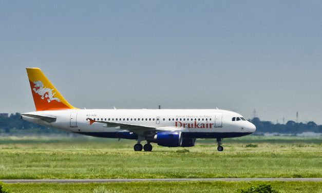 Druk Air – Royal Bhutan Airlines Airbus A319-115 A5-RGG at the taxiway after landing