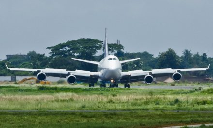 Queen of the sky, Saudi Arabian Airlines Boeing 747-441 TF-AMX turning to taxiway from runway 32 at VGZR