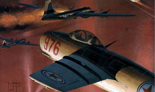 MiG-15's attack B-29 bombers over North Korea