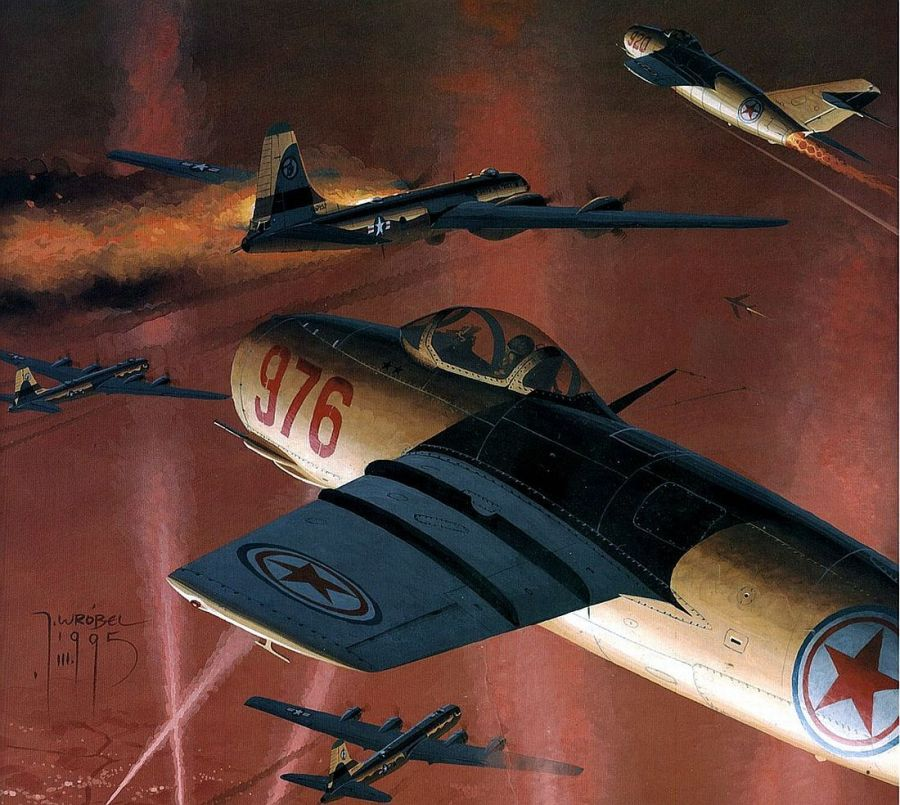 MiG-15's attack B-29 bombers over North Korea