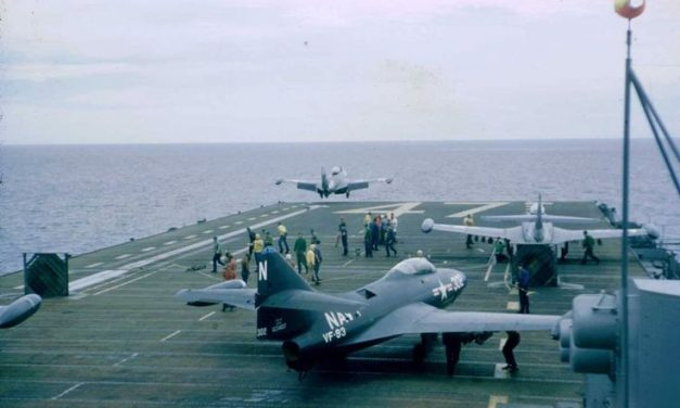 Navy F9F Panther jets launch for a mission during the Korean War from the USS Philippine Sea CV-47.