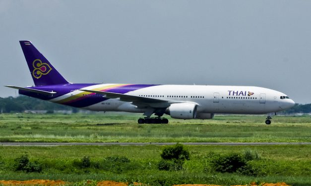 Thai Airways  Boeing 777-2D7  HS-TJD at the taxiway of Hazrat Shahjalal International Airport, Dhaka – VGZR after…