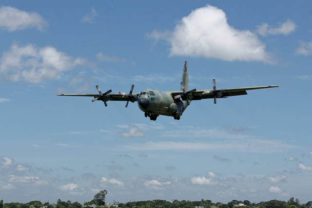 Bangladesh Air Force Lockheed C-130B Hercules S3-AGB returns from its morning mission