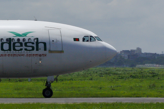 "Biman Bangladesh Airlines  Airbus A310-325(ET) waiting at the ""November"" taxiway for takeoff clearance from the…"