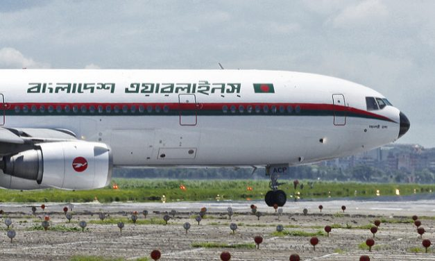 Biman Bangladesh Airlines McDonnell Douglas DC-10-30 S2-ACP entering Runway 14 for take off on its test flight