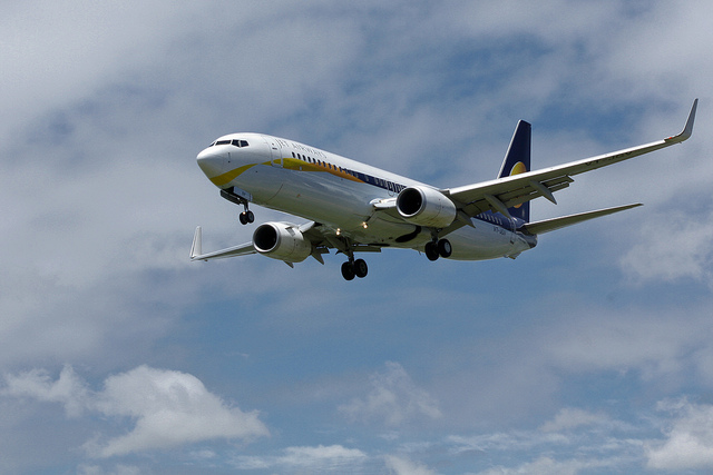 Jet Airways  Boeing 737-85R VT-JGV on its final approach for landing at Runway 14 in VGZR
